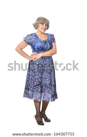 Happy smiling elder woman portrait on white background