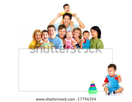 Happy smiling families. Isolated over white background