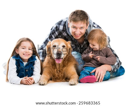 happy smiling familiy - Dad and two daughters  with a big dog  isolated on white - stock photo