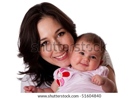 Happy smiling family, Caucasian Hispanic mother together with cute baby infant daughter, isolated.