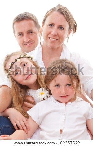 happy smiling family, parents and kids - stock photo