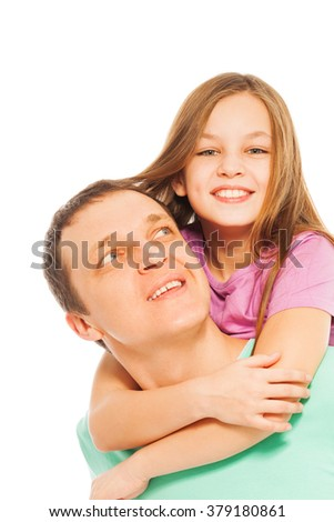 Happy smiling father and daughter - stock photo