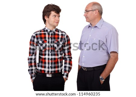 Happy smiling father talking with his young son, isolated on white background - stock photo