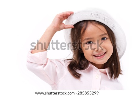happy, smiling female asian caucasian kid playing - stock photo