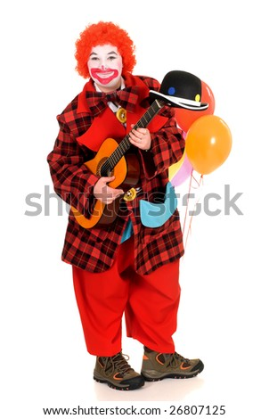 Happy smiling female clown, colorful dressed, studio shot on white background