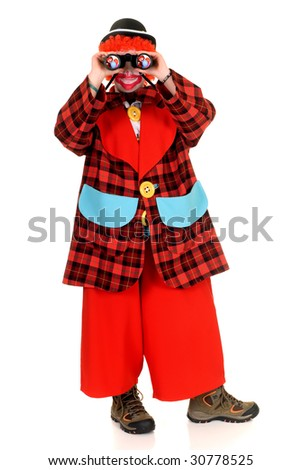 Happy smiling female clown, colorful dressed, studio shot on white background - stock photo