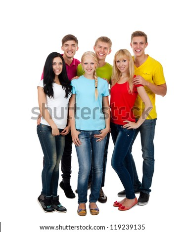 Happy smiling friends, group of young people standing and embracing together full length portrait isolated on white background - stock photo