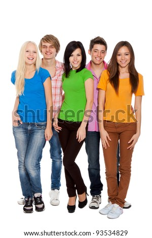 Happy smiling friends, group of young people standing and embracing together, full length portrait  isolated on white background - stock photo