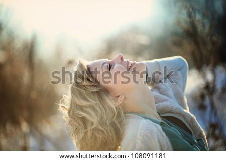 happy smiling girl - stock photo