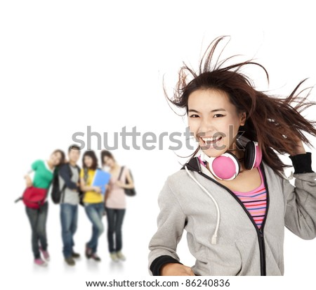 happy smiling girl and young group - stock photo