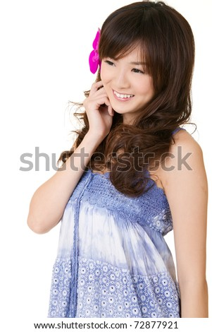 Happy smiling girl of Asian, closeup portrait on white background. - stock photo