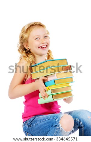 Happy smiling girl reading books. Education. Isolated over white. - stock photo
