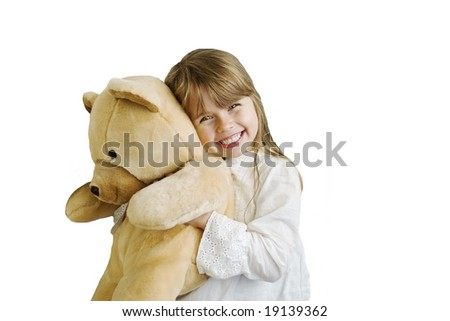Happy smiling girl with huge teddy bear - stock photo