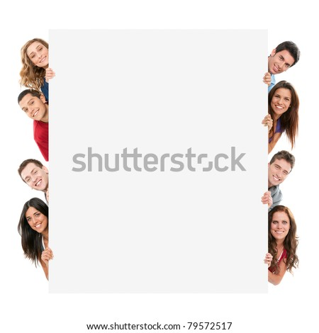 Happy smiling group of friends showing blank placard board to write it on your own text isolated on white background - stock photo