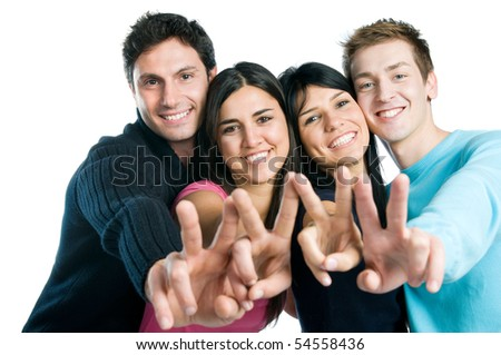 Happy smiling group of friends showing victory signs isolated on white background - stock photo