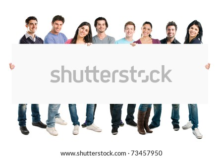 Happy smiling group of friends standing together in a row and displaying a white placard to write it on your own text, isolated on white background