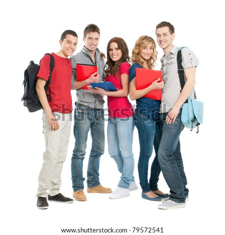 Happy smiling group of students standing isolated on white background - stock photo
