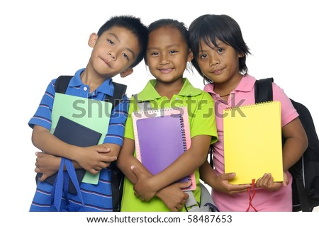 Happy smiling group of young friends ready for school - stock photo
