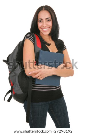 Happy Smiling Hispanic College Student Holding Book - stock photo