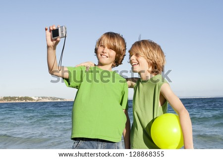 happy smiling kids on vacation - stock photo