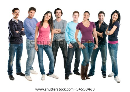Happy smiling latin group of friends standing together in a row isolated on white background - stock photo