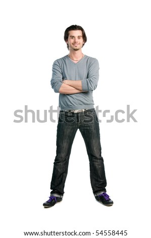 Happy smiling latin young man standing isolated on white background