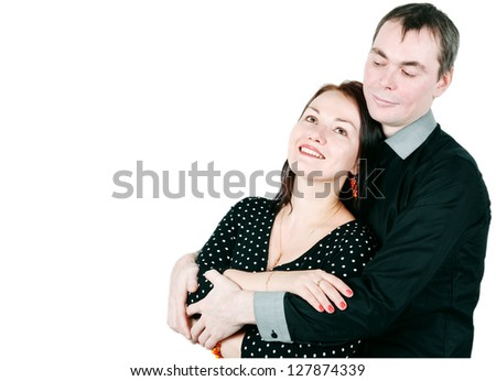 Happy smiling man and woman - stock photo