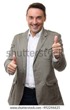 happy smiling man gesturing thumbs up. isolated on white background