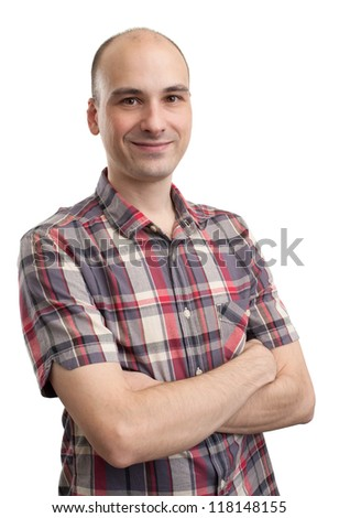 happy smiling man with crossed arms, isolated on white - stock photo