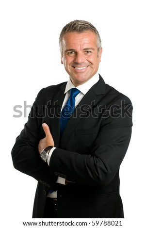 Happy smiling mature businessman looking at camera isolated on white background - stock photo