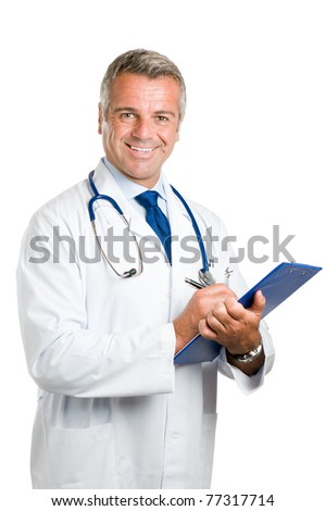 Happy smiling mature doctor writing notes and prescriptions on clipboard isolated on white background - stock photo
