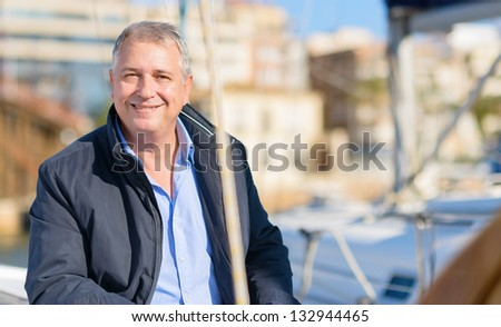 Happy Smiling Mature Man, Outdoors - stock photo