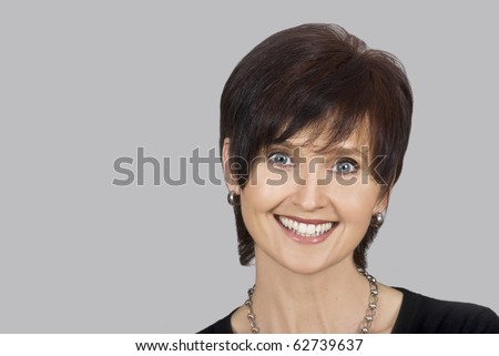 Happy smiling middle aged woman - stock photo
