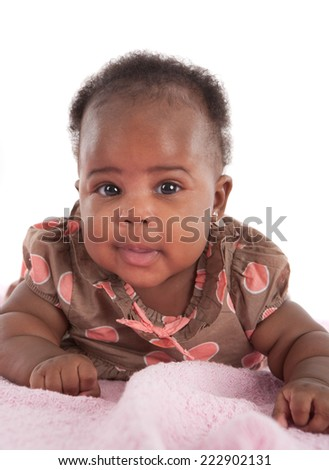 Happy Smiling 3-month Old African American Baby Girl Portrait on White Background - stock photo