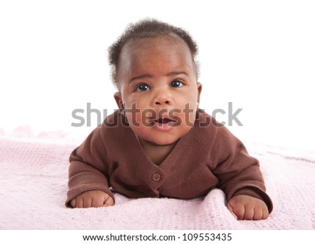 Happy Smiling 3-month Old Baby African American Girl Crawling on White Background - stock photo