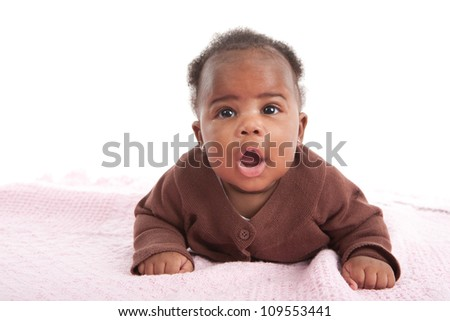 Happy Smiling 3-month Old Baby African American Girl Mouth Open Crawling on White Background - stock photo