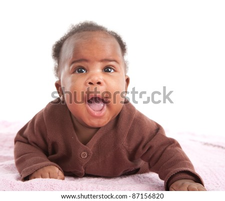 Happy Smiling 3-month Old Baby African American Girl Portrait on White Background - stock photo