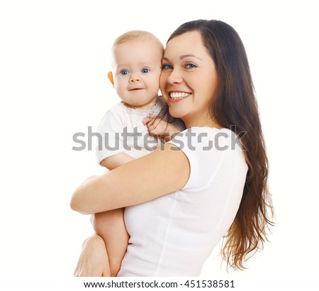 Happy smiling mother with baby on white background - stock photo