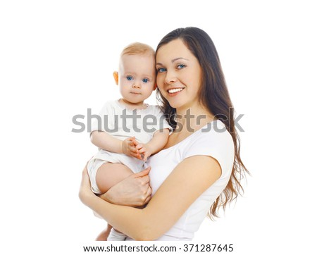 Happy smiling mother with baby over white background - stock photo