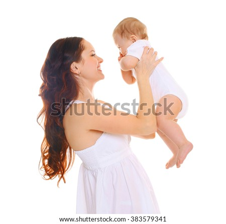 Happy smiling mother with cute baby on a white background  - stock photo