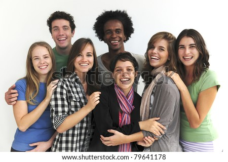 Happy smiling multi-ethnic group - stock photo