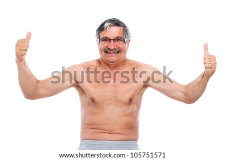 Happy smiling naked senior man showing his body, isolated on white background.