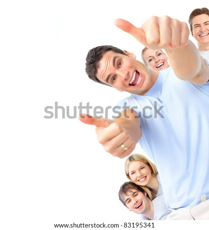 Happy smiling people. Isolated over white background. - stock photo