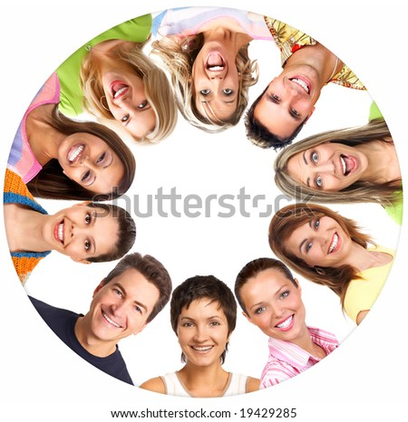Happy smiling people. Over white background - stock photo