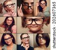 Happy smiling portrait collage collection from people in glasses looking. Fashion style of woman and kid on different background - stock photo