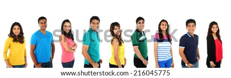 Happy smiling portrait collage collection of Young Indian/Asian group of people looking at camera, smiling. Isolated on white background. - stock photo