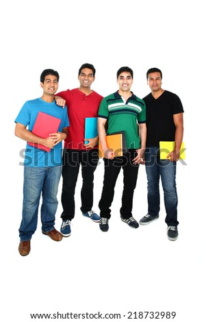 Happy smiling portrait of Young Indian/Asian group of people looking at camera, smiling. Isolated on white background. - stock photo