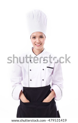 happy, smiling, positive female chef isolated