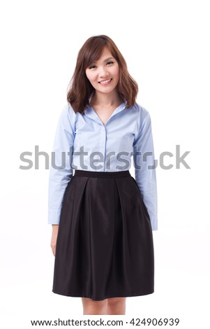 happy, smiling, positive woman office worker in smart casual dress, front view studio isolate of chinese woman model. - stock photo