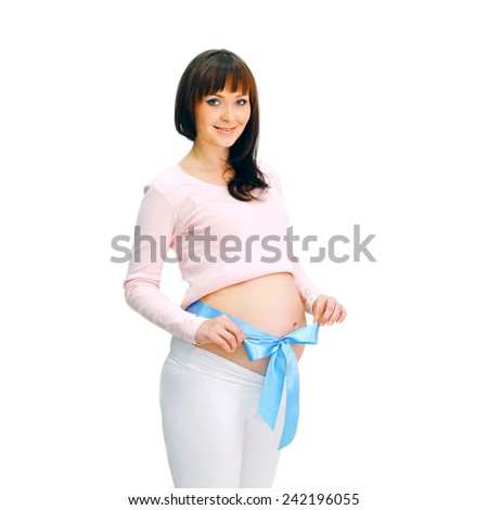 Happy smiling pregnant woman on a white background - stock photo